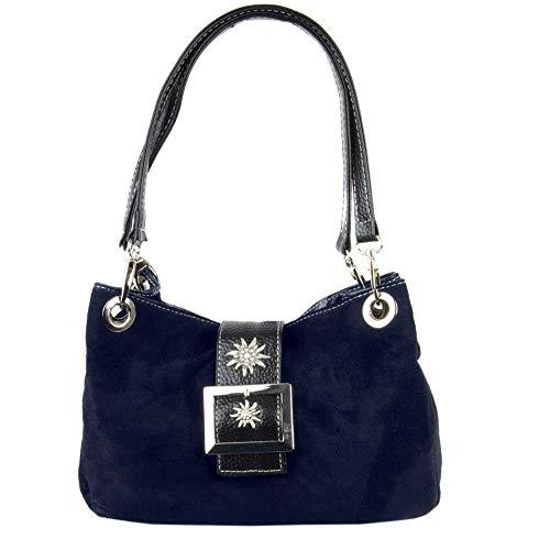 Schuhmacher Trachtentasche Dirndltasche Wildleder Veloursleder mit Metallspange mit Edelweiss dunkelblau