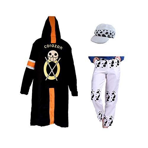 Einteiliges Trafalgar Law Cosplay Kostüm Japanischer Anime Hut Windbreaker mit optionalen Hosen Fancy Cartoon Ruffy Trafalgar Law Mantel Kostüme für Halloween