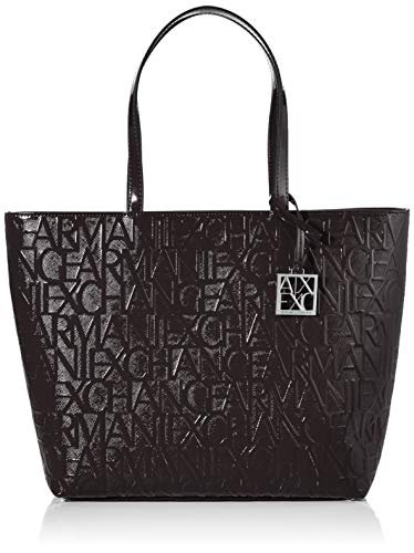 Armani Exchange Damen Shiny Liz - Open Shopping Schultertasche Schwarz (Nero - Black)