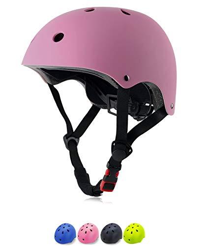 TEFIRE Fahrradhelm Kinder Skateboard Helm Rollerhelm Kid Jungen Mädchen für Sport Rollenfahren Skateboard Pink (55-57cm)