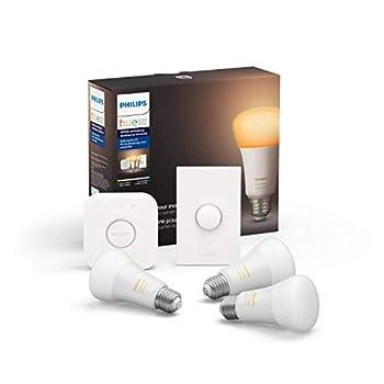 Philips Hue White Ambiance LED Smart Button Starter Kit 3 A19 Smart Bulbs 1 Smart Button & 1 Hue Hub  Works with Alexa Apple HomeKit & Google Assistant