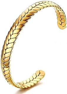 سوار وربطة شعر ستانلس ستيل بلون ذهبي للنساء وتستخطم كسوار حلقي مفتوح او مجوهرات الساعة