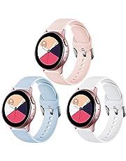 Vobafe Bandje Compatibel met Samsung Galaxy Watch Active/Active 2 (40mm/44mm), Zachte Siliconen Band met Duurzame Sluiting voor Galaxy Watch 3 41mm/Gear Sport, L Roze/Blauw/Wit