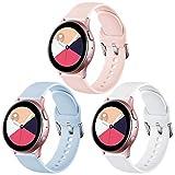 Vobafe Correa Compatible con Samsung Galaxy Watch Active/Active 2 (40mm/44mm), Correas de Repuesto de Silicona Suave con Cierre para Galaxy Watch 3 41mm/Gear Sport, S Rosa/Azul/Blanco