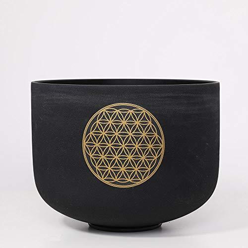 CVNC Cuenco cantante de cristal de cuarzo de 25 cm, diseño de flor de la vida, color negro, con mazo y junta tórica (nota D #)