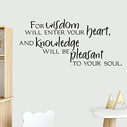 SSCLOCK Etiquetas engomadas de la Pared de la Biblia, la sabiduría entrará en tu corazón, el Conocimiento complacerá tu Alma, calcomanías de poesía 63x30cm