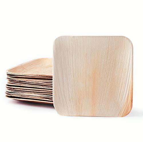 Plantvibes edle Palmblatt-Teller, kompostierbar & CO2-neutral - 25 Stück der Größe 20 x 20 cm - Einweg-Geschirr aus Palmblatt, Party-Geschirr biologisch abbaubar, Palmblatt-Geschirr