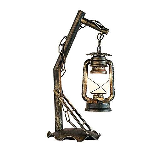 JYDQM Lámpara de Mesa de Hierro Forjado Hecha a Mano Vintage Creativa Lámpara de Vidrio Esmerilado con Personalidad Lámpara de Queroseno Lámpara de Escritorio E27