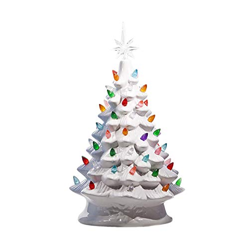 VEFSU Ceramic Christmas Tree, Tabletop Xmas Decor, 66 Multicolored Lights and Glow Top Star, Forever Lighted, Luxury 16 Inch White(C)