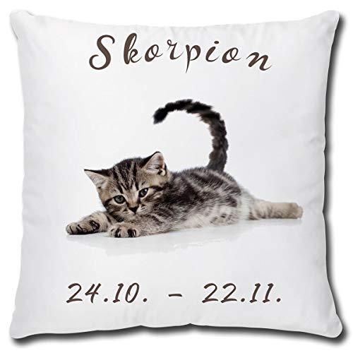 TRIOSK kussen kat met sterrenbeeld schorpioen, grappig cadeau voor kinderen, sierkussen sierkussen incl. vulling 40x40 cm wit grijs