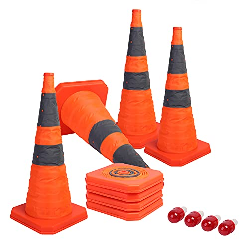 Sunnyglade [4-Pack] 28 inch Collapsible Traffic Cones with LED Light Multi Purpose Pop up Reflective Safety Cone (Orange x4)