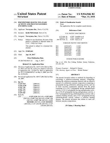 Polypeptides having xylanase activity and polynucleotides encoding same: United States Patent 9914946 (English Edition)