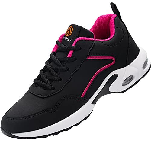 Fenlern Sicherheitsschuhe Damen Arbeitsschuhe mit Stahlkappe Atmungsaktiv Laufschuhe Stoßfest Outdoors Sportschuhe (Schwarzes Rosa,40 EU)
