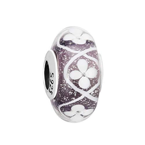 LILANG Pulsera de joyería Pandora 925 Flores iridiscentes Naturales Cuentas de Cristal de Murano se Adapta a encantos de Plata esterlina para Mujer Regalo DIY