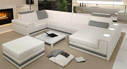 Bullhoff by Giovanni Capellini Leder Wohnlandschaft Sofa weiß/grau Couch Ecksofa Ledersofa Designsofa Ledercouch Eckcouch U-Form mit LED-Licht Beleuchtung Aversa II
