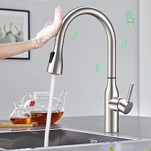 Synlyn touch-on sensor grifo de cocina grifo de fregadero con ducha extraíble grifo de cocina grifo de fregadero monomando giratorio de 360 ° hecho de acero inoxidable 304 grifo mezclador
