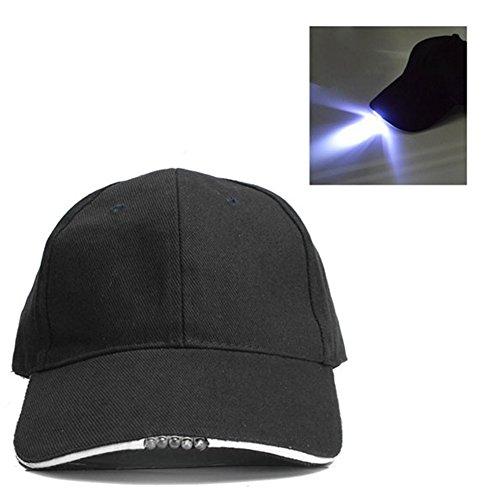 UxradG Gorra de béisbol de 5 Paneles, Gorra de algodón Ajustable con 5 Luces LED para Viajes al Aire Libre, Pesca, para Hombres y Mujeres, 1