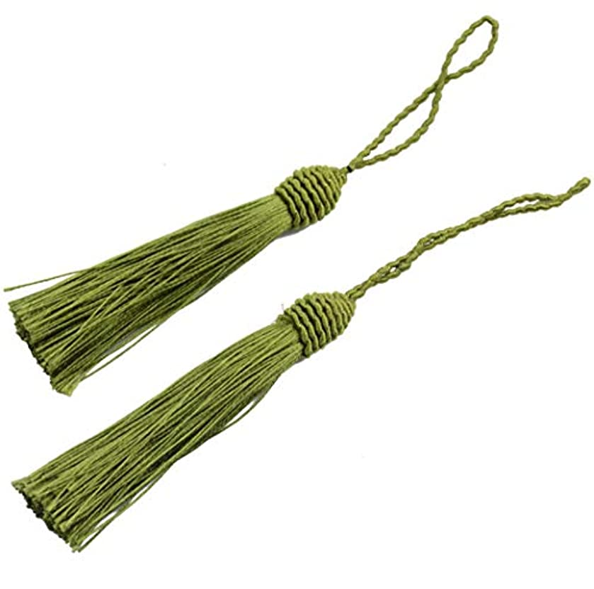 20pcs 15.5cm/6 Inch Silky Floss Bookmark Tassels with 2-Inch Cord Loop and Small Chinese Knot for Jewelry Making, Souvenir, Bookmarks, DIY Craft Accessory (Army Green)