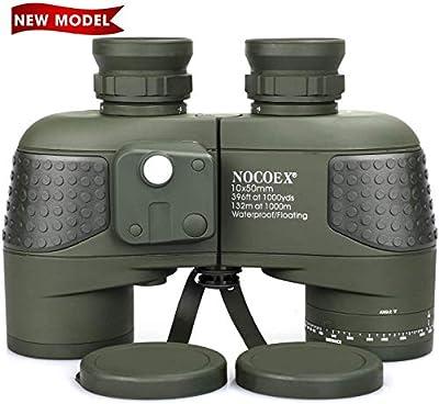 NOCOEX 10x50 Marine Binoculars for Adults, Military Binoculars Waterproof with Rangefinder Compass BAK4 Prism FMC Lens Fogproof for Navigation Boating Fishing Water Sports Hunting