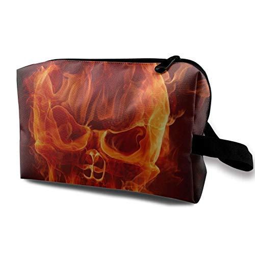 XCNGG Travel Makeup Storage Bag- Portable Toiletry Handbag Small Cosmetic Organizer Pouch for Women & Men- Flame Skull