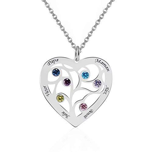 JF 925 Sterling Silber Herz Stammbaum Halskette Name Halskette mit 6 Namen & 6 Birthstones für Mutter Gravur