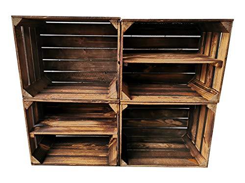 Alte geflammte Obstkisten/Holzkisten in vielen Variationen -Ideal zum Möbelbau oder zur Aufbewahrung- Sehr massiv und stabil verarbeitet (4er Set / 2 x Boden Lang)