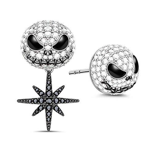 GNOCE Pendientes de calavera de Halloween con estrella de anís de plata de ley 925 estilo punk con circonita cúbica para mujeres y hombres