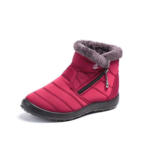 AFANG Mujer Invierno Repelente Agua Más Terciopelo Mantener Caliente Botas, Nieve Zapatos Casuales Planos, Antideslizante Ponibles Gruesos Sexys Botines Tacón Snow Boots,F,40