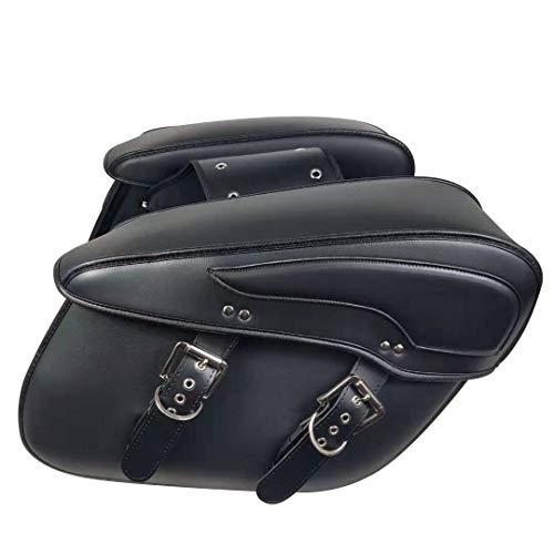 KIVIFIT Extra Large 2pcs Motorcycle Saddlebags Waterproof Synthetic Leather 2-Strap Saddle Bag Tool Bags (Black)
