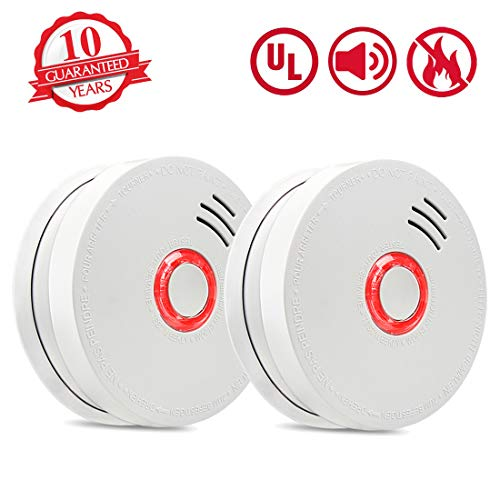 Smoke Detector Fire Alarm 2 Packs Photoelectric Smoke Detectors with UL Listed 9V Battery Operated Smoke Detector 9V Battery Included 10 Years Life Time Fire Safety for Home Hotel School etc