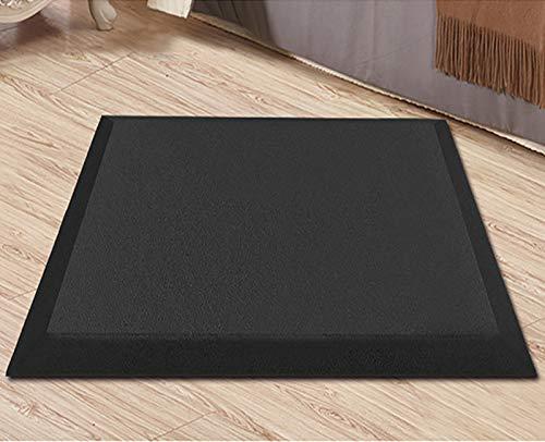 TIYKI Alfombrilla De Confort Antifatiga,Alfombrillas De Piso Confort Acolchadas Suaves,TPE Elasticity Standing Desk Mat,con Soporte Adicional En Casa-Negro. 61x45x1.9cm(24x18x1inch)
