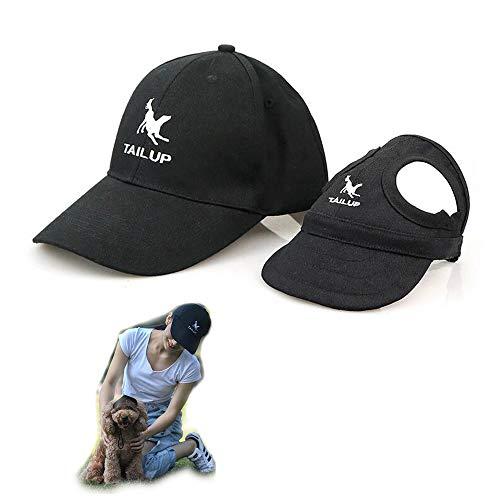 2er Set - 1x Hund Kappe Baseballmütze für Hunde Hut Mütze Hundehut Sonnenhut mit Ohrlöcher + 1x Unisex Baseballkappe für Herren Damen (L für Hunde + One Size für Mensch, Schwarz)