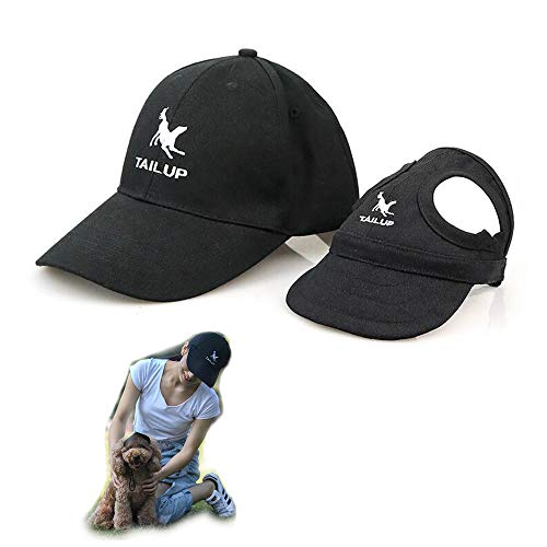 2er Set - 1x Hund Kappe Baseballmütze für Hunde Hut Mütze Hundehut Sonnenhut mit Ohrlöcher + 1x Unisex Baseballkappe für Herren Damen (XL für Hunde + One Size für Mensch, Schwarz)