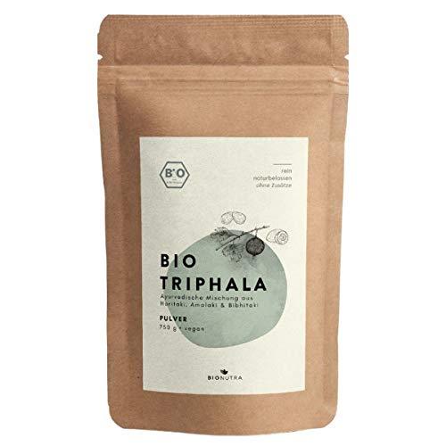 BIONUTRA Triphala polvo orgánico 750 g, polvo de Haritaki, Amalaki, Bibhitaki de cultivo orgánico controlado, alimento crudo, producción justa de Sri Lanka