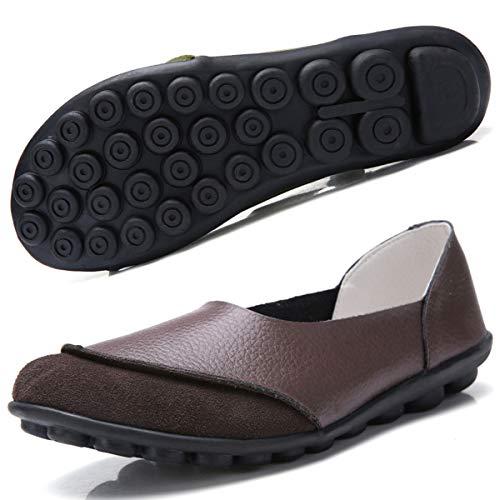 Hsyooes Damen Mokassin Bootsschuhe Leder Loafers Fahren Flache Schuhe Halbschuhe Slippers Erbsenschuhe, Braun 4, (Herstellergröße: 37)