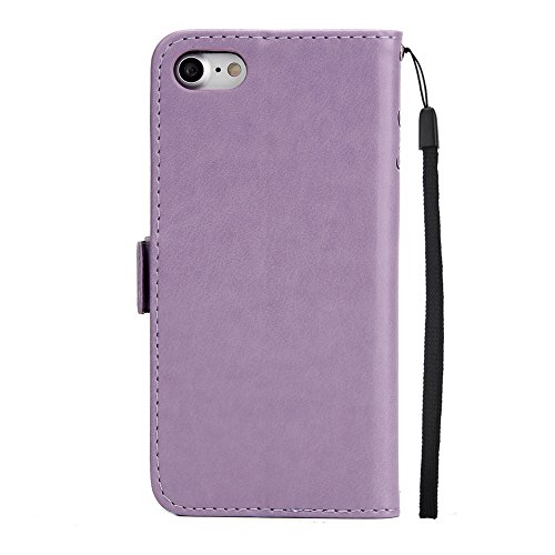 """For iPhone 6/6S Plus Wallet Phone Case,Welegant Emboss Butterfly Girl Flip Kickstand Case PU Leather Magnetic Protective Shell Cover with Card Slots+Detachable Wrist Strap (For 6/6S Plus 5.5"""", Purple)"""