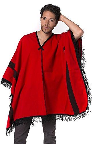 Gamboa - Alpaka poncho wollen poncho rustieke stijl voor mannen - rood met zwarte franjes