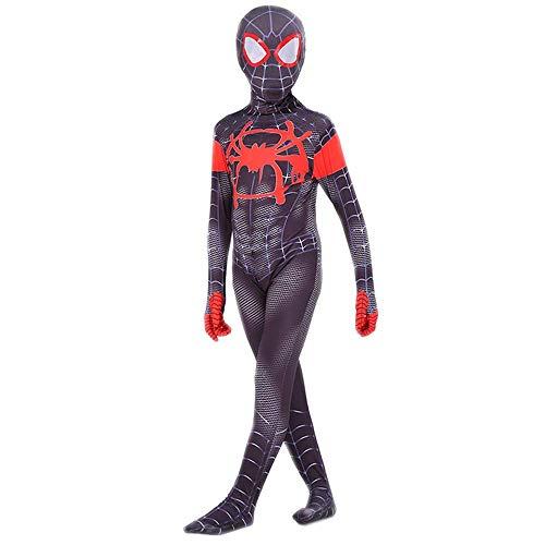 COSFANCY Kids Spider-Verse Cosplay Costume Jumpsuit (Miles Morales, Kids-L(120-130cm))