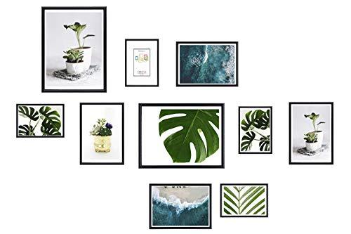 Chely Intermarket, Marcos multifotos Pared (Negro) Set de 10 Marcos Mod-312 (10x15cm(x4)-13x18cm(x4)-20x25cm(x2)). Portafoto de PVC con Cristal Vidrio.