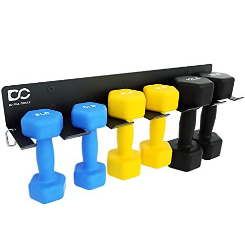 Double Circle Soporte de almacenamiento para pesas en casa, para gimnasio en casa, 6 ranuras, soporte de acero resistente montado en la...