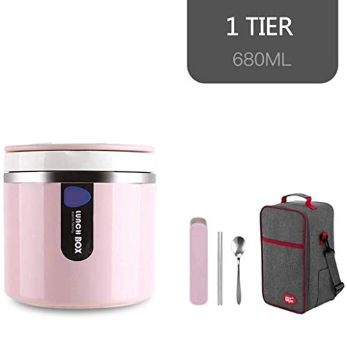 Soep Fles met handvat Insulated Voedsel Container warm blijft 3 uur of Cold lekvrije Soup pot for Portable Convenience (Color : Pink)