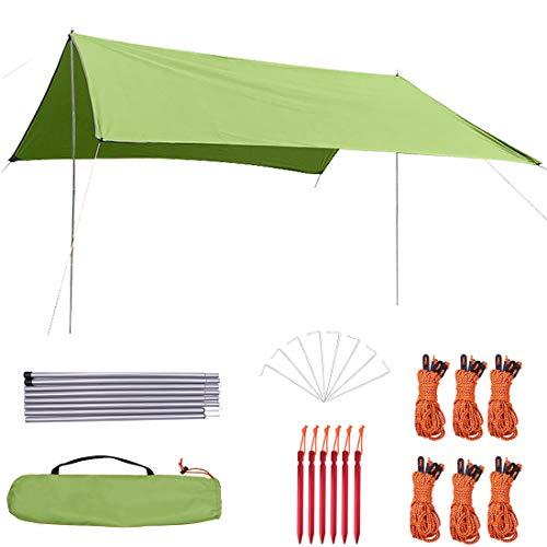 タープ テント キャンプ 防水タープ キャンプ用品 3mx2.95m 軽量 天幕シェード 日除け 多機能タープuv 紫外線カット 高耐水加工 キャンプ 登山 携帯便利 大容量 ペグ14本付き タープポール2本付き 収納ケース付き キャリーバッグ付き 2-6人用