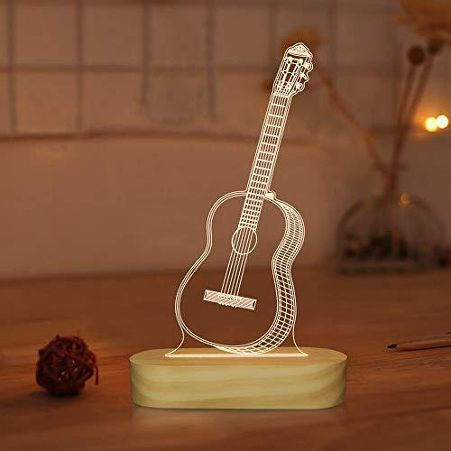 Guitarra 3D Illusion Optical Night Light LED Lámpara de mesita de noche para niños Hombres Him Músico Amante Regalos de vacaciones, Color blanco cálido
