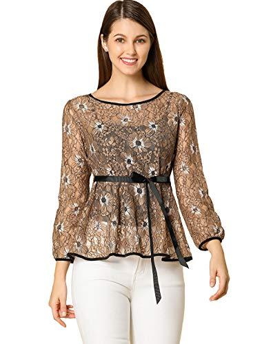 Allegra K Blusa Peplum De Encaje Bicolor con Contraste Cintura Autoajustable para Mujer Marrón L