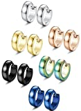 FIBO STEEL 6 Pairs 14MM Stainless Steel Hoop Earrings for Men Women Huggie Earrings,Dome