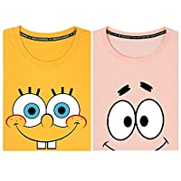 ペアシャツ スポンジ・ボブ Tシャツ ピンク イエロー メンズ レディース 半袖 綿100% コットン かわいい インナーシャツ 肌着 スポーツ シャツ 下着 軽い 柔らかい 快適 カジュアル おしゃれ 大きいサイズ