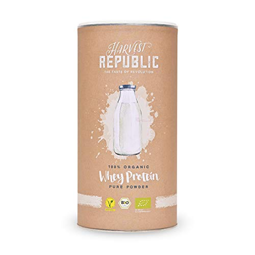 HARVEST REPUBLIC Bio-Whey Protein Pulver, 1x 400 g, 80% Proteingehalt, Organic Food, Gut löslich, Cremig