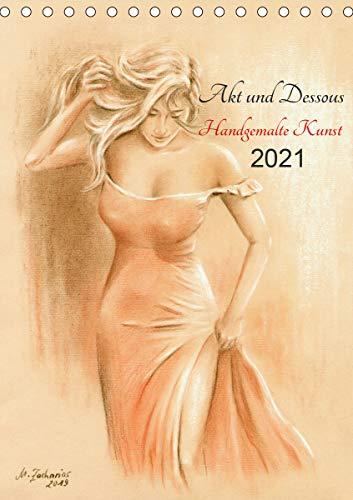 Akt und Dessous - Handgemalte Kunst (Tischkalender 2021 DIN A5 hoch)