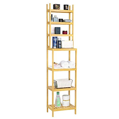 Greenvelly 100% Bamboe badkamer plank, 7-Tier Multifunctionele Storage Rack, Stellingen Unit, Badkamer handdoek Plank for keuken, woonkamer, slaapkamer, gang Black ZHW345 (Color : Natural)