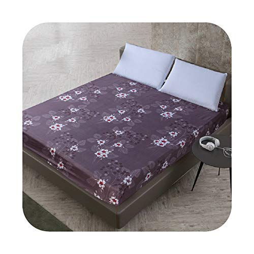 zhougang Floral Printed Fitted Sheet Cartoon Mattress Cover with All Around Elastic Rubber Band Plant Style Bed Sheet,10,120x200x25cm